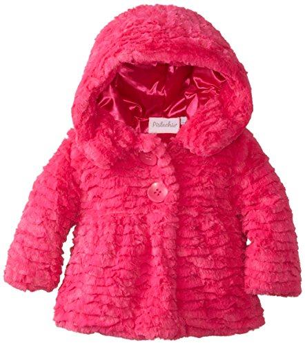 Pistachio Baby Girls' Scallop Faux Fur Jacket, Berry, 18 Months