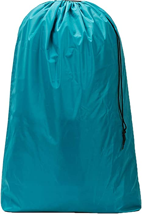 HOMEST XL Nylon Laundry Bag, Machine Washable Large Dirty Clothes Organizer, Easy Fit a Laundry Hamper or Basket, Can Carry Up to 4 Loads of Laundry, Lake Blue