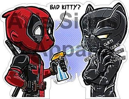 cfec3245a5554 Amazon.com  Deadpool Black Panther bad kitty Vinyl Sticker ...