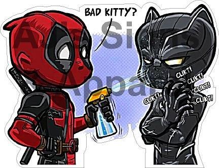 (Deadpool Black Panther bad kitty Vinyl Sticker)