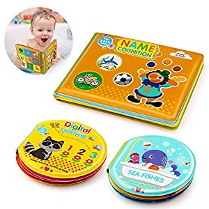 Baztoy Baby Bath Book Safe & Non-Toxic Waterproof Bath Toys Books Set(Set of 3) for Toddlers Babies Bath Time, Educational Toy Floating Bathtub Books Ocean Animals Letters Numbers Learning