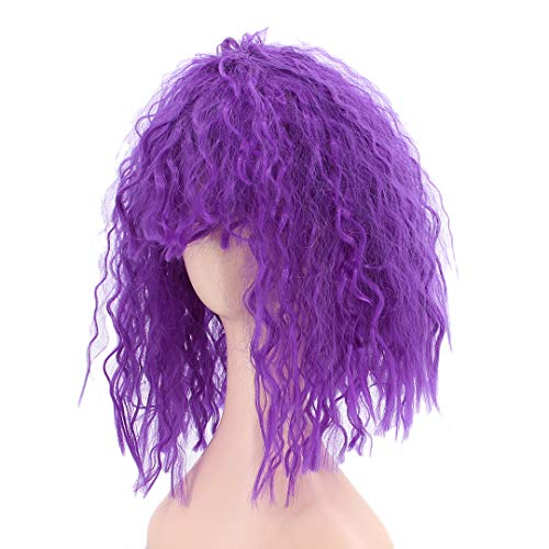 Multifit Women Short Curly Cosplay Wigs Fluffy Funky Spiky Wigs Crazy Halloween Costumes Cosplay Accessory(Purple) -