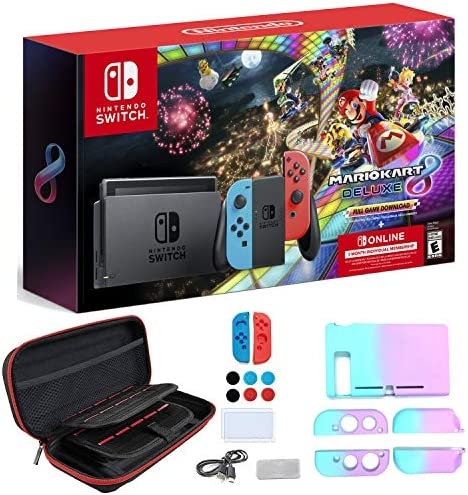 Nintendo Switch with Neon Blue and Neon Red Joy-Con — Mario Kart 8 Deluxe(Full Game Download) — 3 Month Nintendo Switch Online Individual Membership — AC WiFi - iPuzzle 11-in-1 Carrying Case