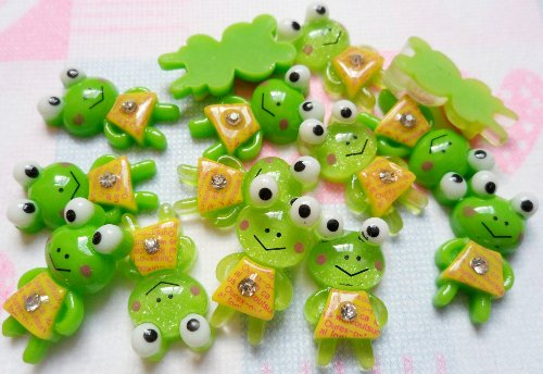 Resin Keroppi Frog Gem Yellow Dress Flat Back Girl Trim Cabochon Appliques Headbands Alligator - Gem Frog