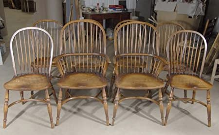 8 Farmhouse English Windsor Dining Chairs Yew Amazon Co Uk Kitchen Home