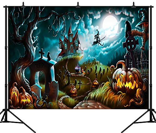 DePhoto 7X5FT(210x150CM) Halloween Moon Night Scary Haunted Castle