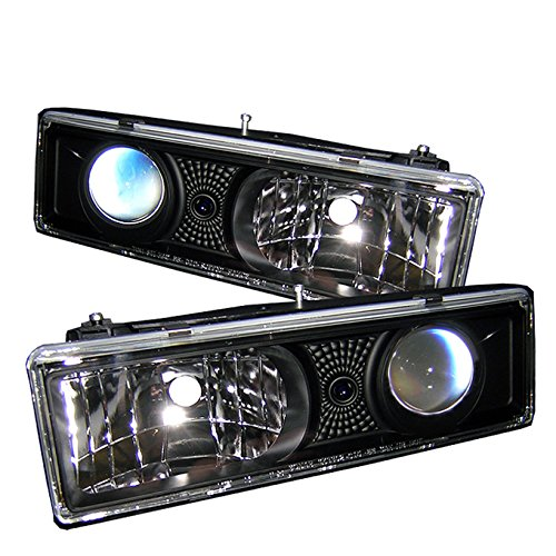 For Chevy C/K 10 Series Pickup Truck Black Bezel Projector Headlights Front Lamps Replacement Pair Set - C/k Truck Headlight