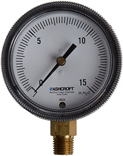 (Ashcroft Type 1490 Glass Filled Polysulfone Low Pressure Diaphragm Gauge, Beryllium Copper, Brass, Polysulfone and RTV Silicone Wetted Material, Brass Socket and Movement, 2-1/2