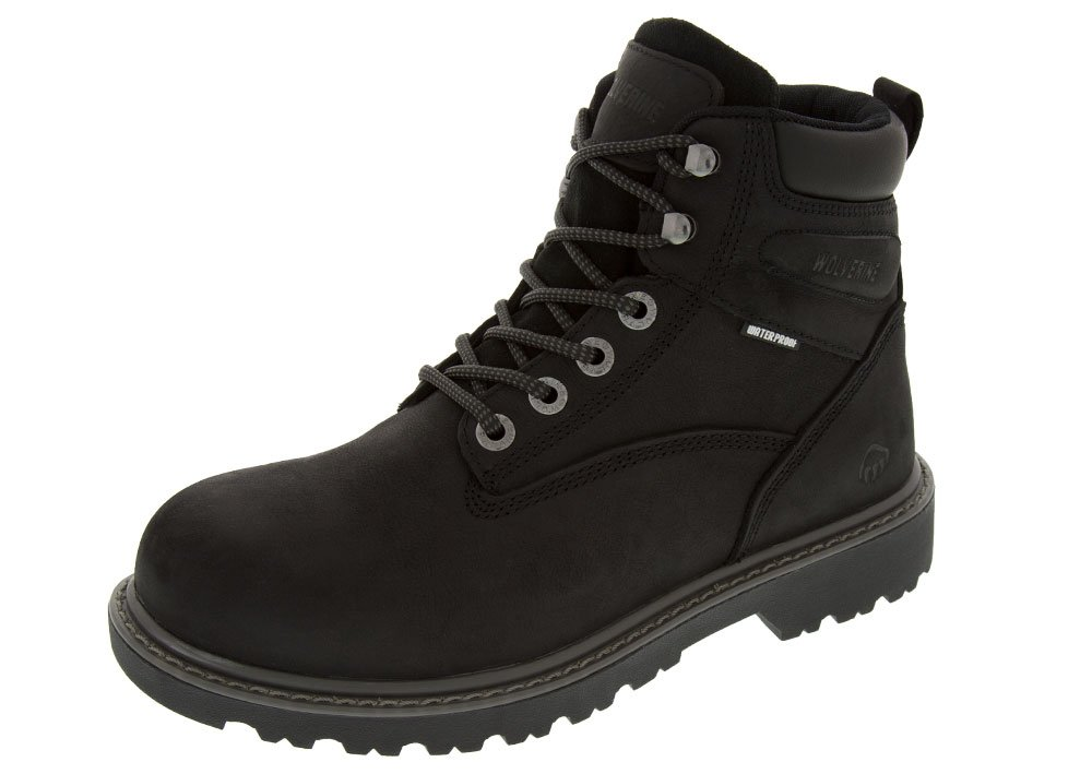 Wolverine Men's Floorhand Waterproof 6'' Steel Toe Work Boot, Black, 8.5 M US