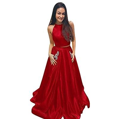 A Line Satin Halter para Mujer 2 Piezas Vestidos de Noche Formales Cóctel Fiesta de Baile Vestido de Fiesta: Ropa y accesorios