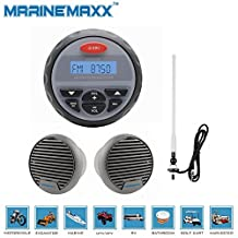 "Marine Gauge Radio FM AM MP3/USB Stereo Bluetooth Receiver + 2 pieces of 3"" Waterproof Marine Speakers + 1Piece of White Marine Radio Antenna"