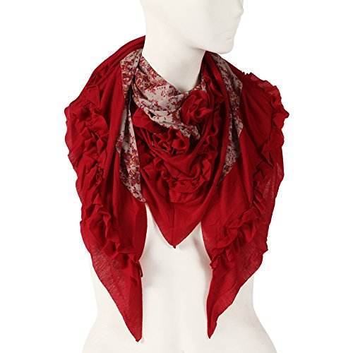 Lightweight Cotton Scarf Women, Color Inchoice Red Triangle Thin Summer Spring Warp Shawl