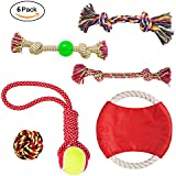 Dog Rope Toys Set Dog Toys - Chew Toys - 100% Natural Cotton Rope - Dog Balls - Dog Ropes - Tug of War Ball - Small to Medium Dogs (Colors May Vary) (6PCS)