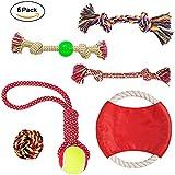 Dog Rope Toys Set Dog Toys - Chew Toys - 100% Natural Cotton Rope - Dog Balls - Dog Ropes - Tug of War Ball - Small to Medium Dogs (Colors May Vary) (6PCS)