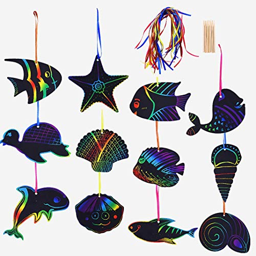 24Pcs Sea World Theme Magic Scratch Art Card, Adv-one Rainbow Scratch Paper Bookmark with Wooden Sticks Ribbon DIY Painting Crafts Supplier Birthday Party Decoration Parent-Child Kids Toys