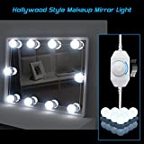 Hollywood Style LED Vanity Mirror Lights Kit, HogarTech Dimmable Makeup Dressing Vanity Table Light Bulbs with Power Plug Lighting Fixture Strip - 6000K, 10Pcs Bulbs, White