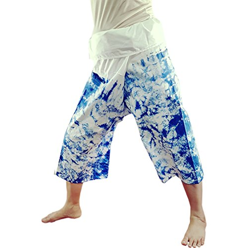 0ab507aac Nifty Thai Cotton Thai Fisherman Pants Cropped Indigo Tie Dye(PT3)