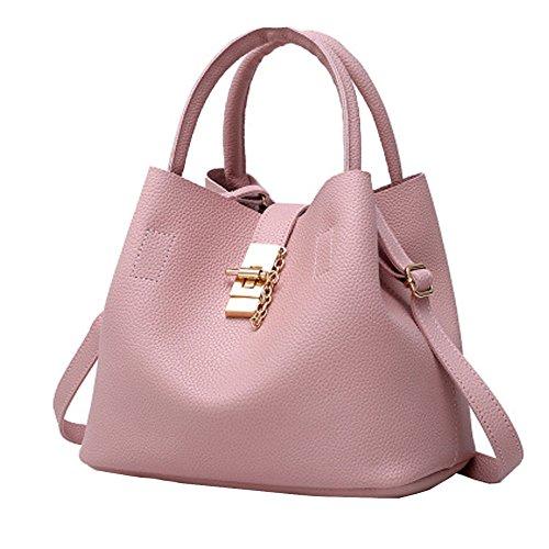Bolso De Mano Superior De La Manija Del Cuero De La PU De La Moda Bolso Para Las Mujeres De La Señora Elegante Satchel Grande Crossbody Hombro Bolsos Pink