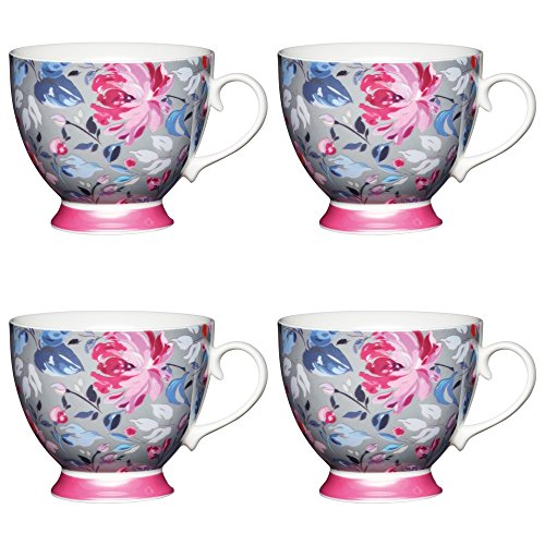 (Kitchen Craft Large Bone China 'Grey Floral' Footed Flower-Patterned Mugs, 400 ml - Grey/Pink (Set of 4))