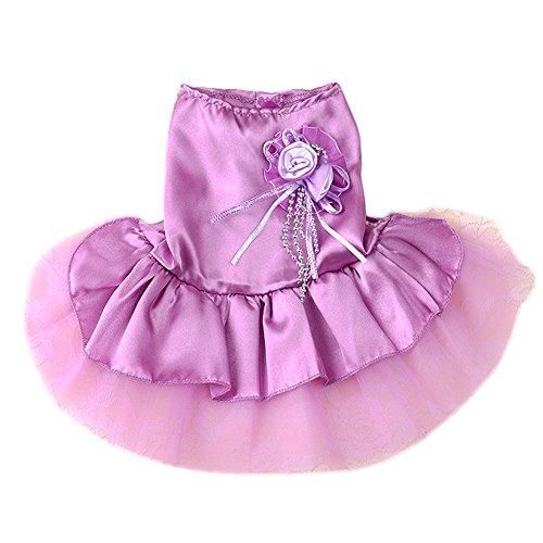 ACTLATI Pet Wedding Party Dress Rose Flower Bead Dog Cat Sleeveless Mini Lace Satin Tutu Princess (Cat Tutu)