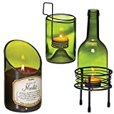 (Set) Wine Bottle Décor 4 Piece Tealight Holder And Merlot Scented Candle