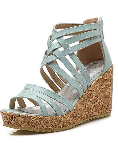 ShangYi Women's Shoes Leatherette Wedge Heel Wedges Sandals Casual Black / Blue / White Black mX4YQv3y