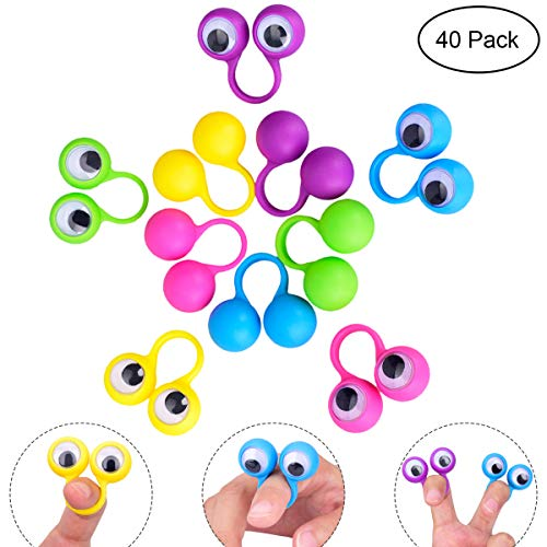 YoungRich 40 Pieces Eye Finger Puppet Googly Eyes Rings Eyeball Toy for Kids Adult Children Party Favor Creative Fun Wiggle Eye 5 Assorted Color 3.5x3x1.5cm