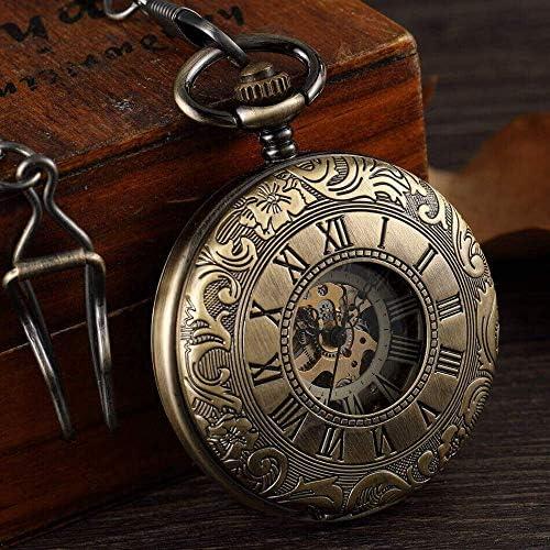 YXZQ懐中時計、両面メカニカル男性ブロンズ中空スケルトンメカニカルフォブ時計クリップチェーンスチームパンクペンダントギフト