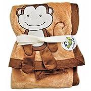 Brown Plush 2 Ply PV Baby Blanket, 3D Monkey Design