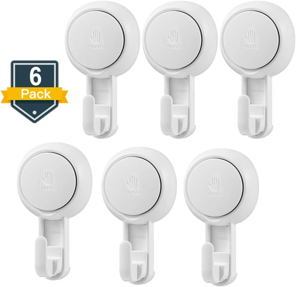 Suction Hooks LUXEAR Powerful Vacuum Suction Cup Hooks- Heavy Duty Kitchen Suction Cup Holder Shower Hook for Towel Robe Loofah - White Waterproof Suction Holder- for Bathroom Kitchen Restroom (6Pack)