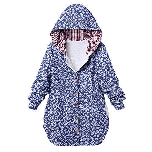 Womens Plus Size Down Jacket Duseedik Winter Warm Outwear Floral Print Overcoat Plaid Hooded Pockets Oversize Coats Cardigan