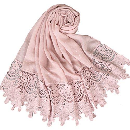 LMVERNA Women's plain lace scarf fashion cotton scarves Long Scarf Wrap Shawl (Light pink) by LMVERNA