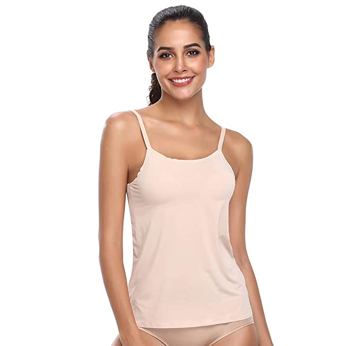 b7ff931bdd390 Camisoles for Women Slimmer Tank Top Vest Body Shaper Nightgown Sleepwear  Underdress Shirt(Beige