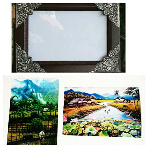 Wooden frame with beautiful Thai elephant Including rare rural pictures.(Size 4x6'') by Bansuansukdee