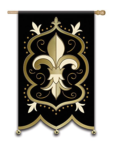 Fleur de Lis Bells and Foil Applique House Flag