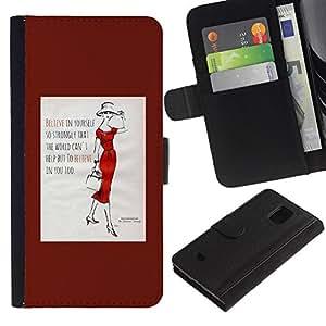 WINCASE (No Para S5) Cuadro Funda Voltear Cuero Ranura Tarjetas TPU Carcasas Protectora Cover Case Para Samsung Galaxy S5 Mini, SM-G800 - cita de la moda poster tendencia dama minimalista