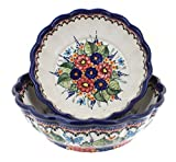 Blue Rose Polish Pottery Floral Butterfly Scallop Serving Bowl Set