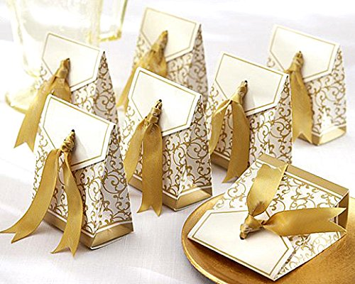 Patty 50 Gold Gift Boxes Candy Favor Box Wedding Decoration Party Decoration New Craft Decoration Thanksgiving Gifts Christmas Gifts