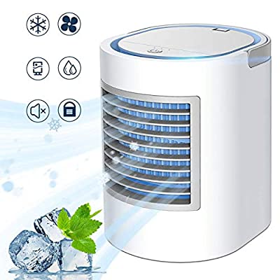 ENKLEN Portable Air Conditioner, Personal Mini Air Cooler, Quiet USB Desk Evaporative Air Cooler Fan with 7 Colors Night Light, Fast Cooling Personal Space, for Home Office Outdoors Travel, Gray