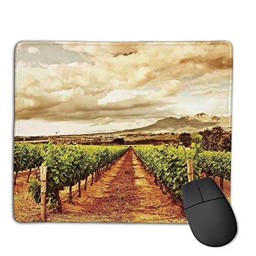 Mouse Pad Bundle Stitched Edges Premium Waterproof Mouse Mat Pad,Farm House Decor,Grape Valley Clouds Over Vineyard Natural Fruit Plantation in Autumn Garden Theme,Green Brown,Consoles More Enjoy P
