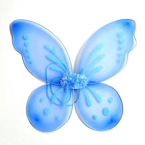 ESHOO Princess Angel Fairy Butterfly Wings Kids Girl Halloween Fancy Dress Costume (Butterfly With Angel Wings)