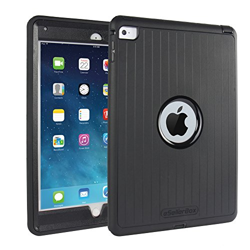 iPad Air 2 Cases ,By eSellerBox® , [Heavy Duty] [Armor ] Full-body Rugged Hybrid Robust 3-Layer Protective Case With Stands Drops Bumps and Shock Built-in Screen Protector Case Cover Black (1.4