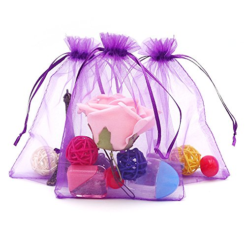 G2Plus Organza Gift Bags with Drawstring 5'' x 7 100 PCS Organza Jewelry Bags, Sheer Drawstring Gift Pouches for Christmas Wedding Party Favors (Purple) (Sheer Drawstring)
