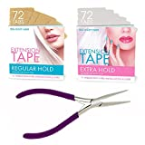 Big Kizzy Hair Extensions Tape Pressing Sealing Tool + 72 Tabs Regular Hold + 72 Tabs Extra Hold 4cm x .8cm Hair Extension Tape. Compatible with Hot Heads, Hairdreams, Babe & Most Other Brands.