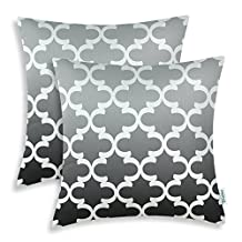 Pack of 2 CaliTime Throw Pillow Covers 20 X 20 Inches, Gradient Quatrefoil Accent Geometric, Gray/Grey