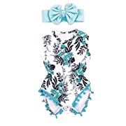 Sharemen Newborn Baby Girls Print Romper Headband Summer Bodysuit (Blue, 3-6 Months)