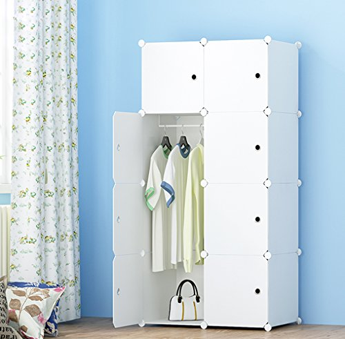 MEGAFUTURE Portable for Hanging, Cabinet Space Saving Storage Organizer Cubes books, towels (8 Cube, Stickers Include)
