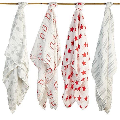 Baby Swaddling Blankets Organic Silky Soft Muslin Cotton Bamboo - Exclusive Prints - Boys & Girls Unique Gift Box - Unisex Adam & Elsa 4 Pack Oversized (Red Grey Shapes Stars Cricles Stripes) ()