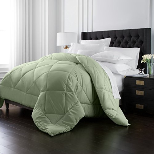 Park Hotel Collection Goose Down Alternative Comforter - All Season - Premium Quality Luxury Hypoallergenic Comforter - Sage - Full/Queen