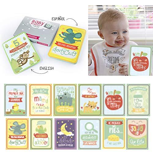 BabyMoments Cards by Mimuselina (Bilingüe: Español-English) Regalo recien nacido.Tarjeta logros e hitos del bebé product image